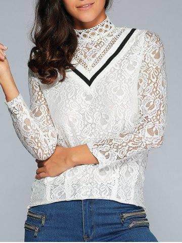 New Color Block Lace Blouse