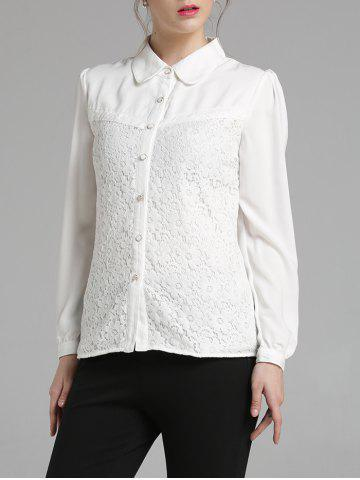 Unique Fitting Long Sleeve Lace Spliced Shirt WHITE 2XL