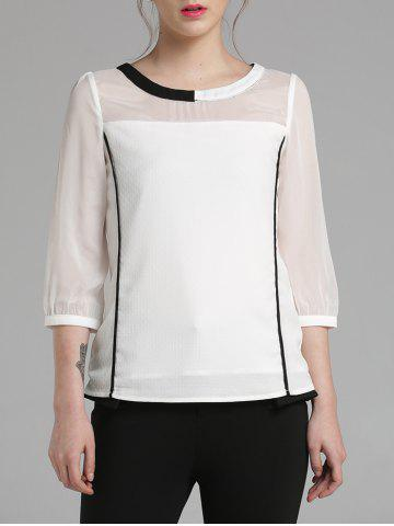 Hot 3/4 Sleeve Color Block Chiffon Blouse WHITE M