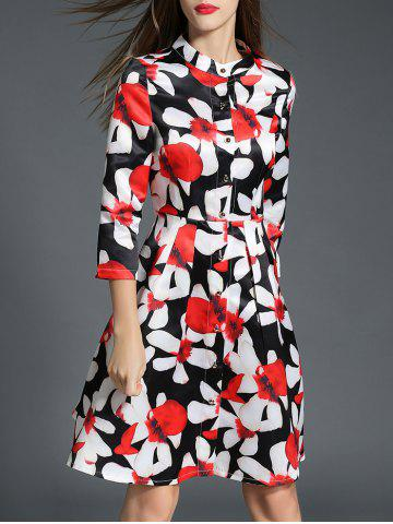 Trendy Fitting Floral Shirt Dress RED XL