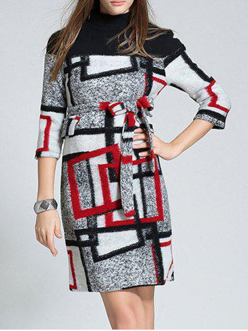 Affordable Belted Checked Woolen Dress RED L