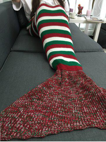 Chic Super Soft Color Block Stripe Crochet Knitting Mermaid Tail Style Blanket - COLORMIX  Mobile