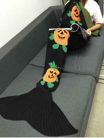 Outfits Halloween Pumpkin Multicolor Crochet Knitting Mermaid Tail Style Blanket - BLACK  Mobile