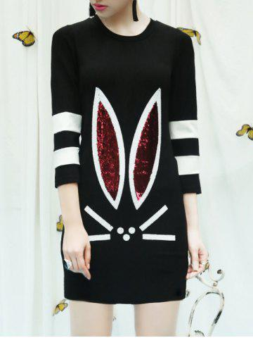 Rabbit Sequined Color Block Dress