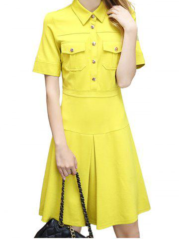 Fashion A Line Double Pocket Polo Shirt Dress YELLOW XL