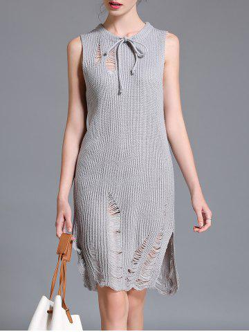 Latest Ripped Sleeveless Knit Dress