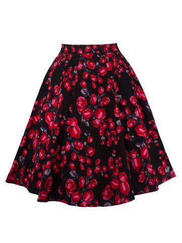 Trendy Floral Print Zippered Skirt