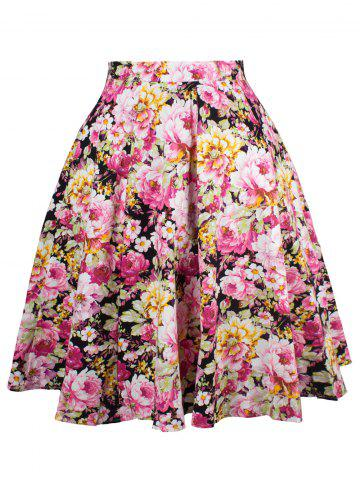 Fashion Ornate Floral Print A-Line Skirt