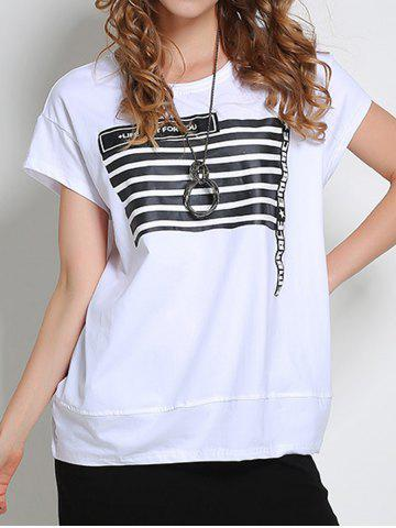 Sale Striped Letter Pattern T-Shirt