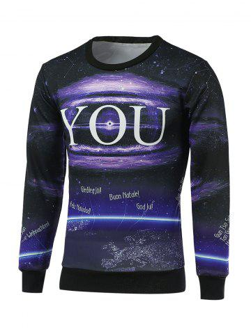 Affordable Crew Neck Long Sleeve Galaxy Sweatshirt - M BLACK Mobile