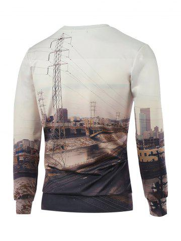 Affordable Crew Neck Long Sleeve 3D Printed Sweatshirt - S OFF-WHITE Mobile