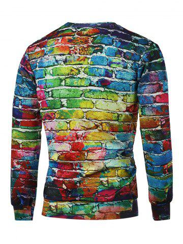 New Crew Neck Long Sleeve Brick Wall Print Graphic Sweatshirts - 2XL COLORMIX Mobile
