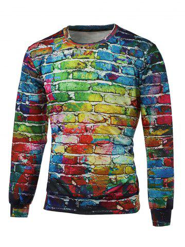 Affordable Crew Neck Long Sleeve Brick Wall Print Graphic Sweatshirts COLORMIX 2XL