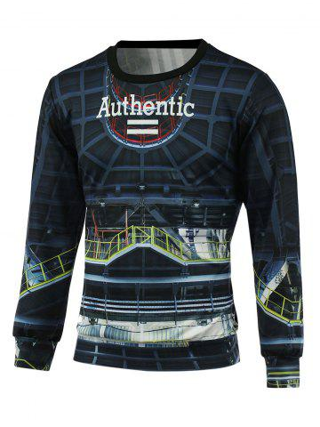 Latest Letter 3D Print Crew Neck Pullover Sweatshirt - XL CADETBLUE Mobile