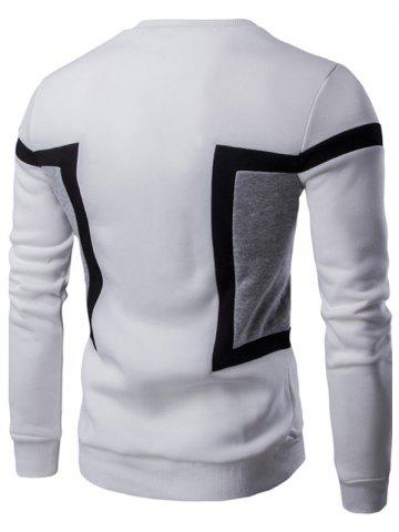Latest Color Splicing Crew Neck Long Sleeve Sweatshirt - L WHITE Mobile