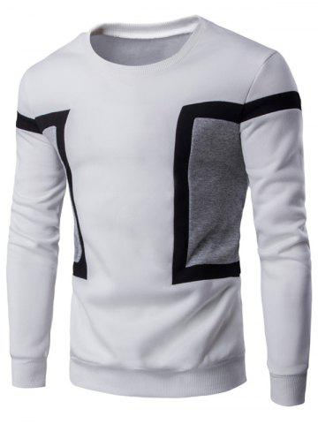 Online Color Splicing Crew Neck Long Sleeve Sweatshirt - L WHITE Mobile