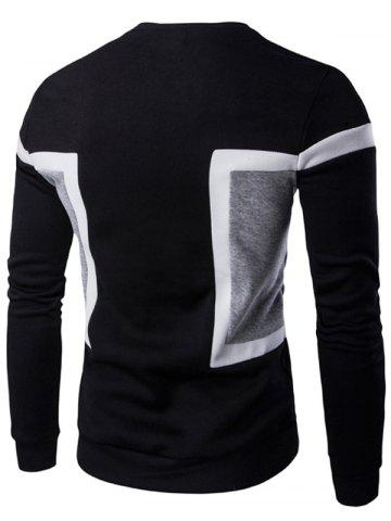 Best Color Splicing Crew Neck Long Sleeve Sweatshirt - XL BLACK Mobile