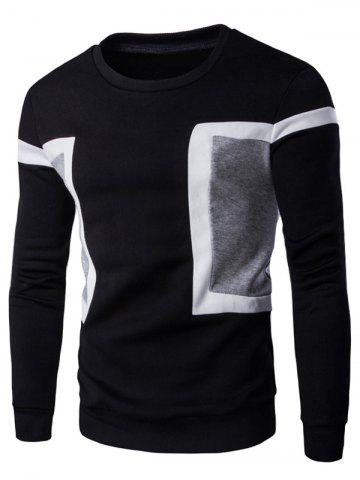 Fancy Color Splicing Crew Neck Long Sleeve Sweatshirt - XL BLACK Mobile