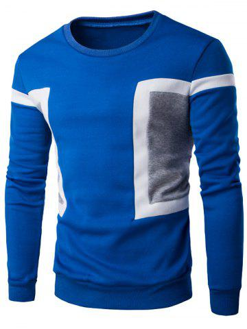Outfits Color Splicing Crew Neck Long Sleeve Sweatshirt - M BLUE Mobile