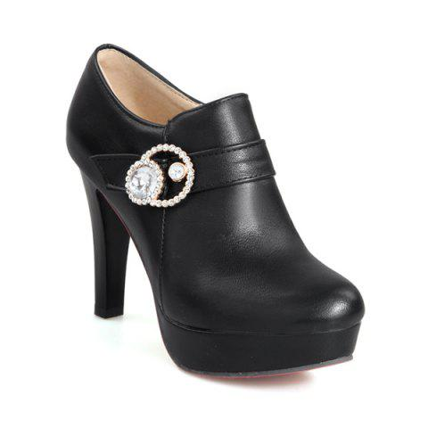 Best Platform Rhinestones Zipper Pumps - 39 BLACK Mobile