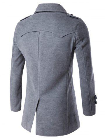 Shop Slit Back Epaulet Design Long Sleeve Peacoat - 2XL LIGHT GRAY Mobile