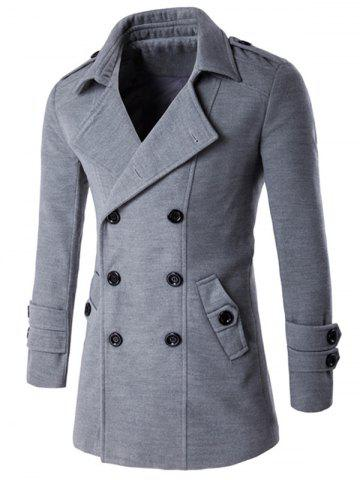New Slit Back Epaulet Design Long Sleeve Peacoat - 2XL LIGHT GRAY Mobile