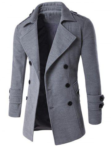 Trendy Slit Back Epaulet Design Long Sleeve Peacoat - 2XL LIGHT GRAY Mobile