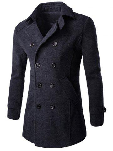 Half Back Belt Long Sleeve Button Cuff Peacoat - Deep Gray - L