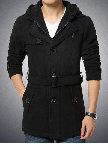 Outfit Button Embellished Zippered Hooded Belted Coat