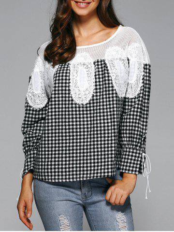 Best Loose Plaid Openwork Blouse
