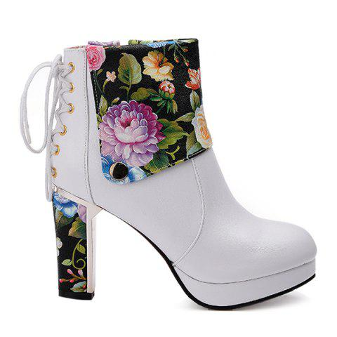 Sale Floral Print Chunky Heel Ankle Boots WHITE 43