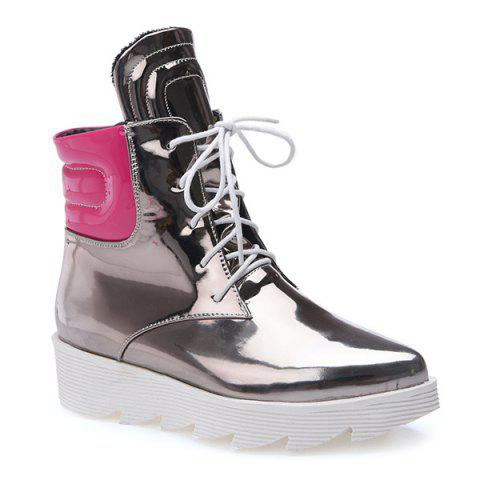 Online Stitching Colour Block Short Boots SILVER 38