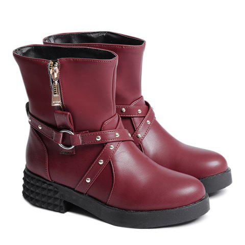 Online Studded Cross Straps Side Zip Boots WINE RED 39