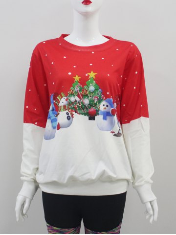 Trendy Color Block Christmas Sweatshirt RED WITH WHITE XL