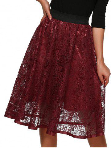 Affordable Hollow Out Lace Midi Skirt
