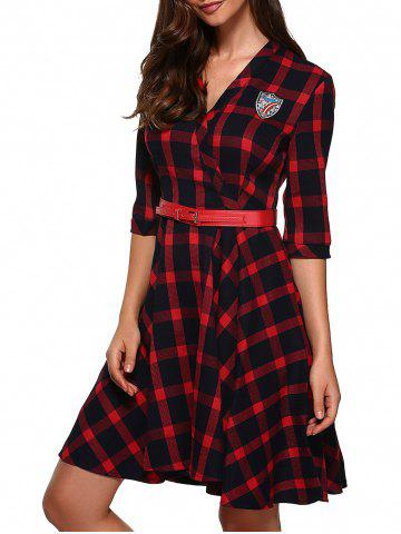 Outfit Retro Flare Plaid Dress