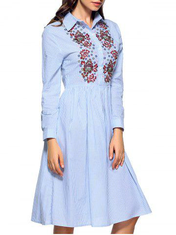 Sale Buttoned Embroidered Striped Shirt Dress