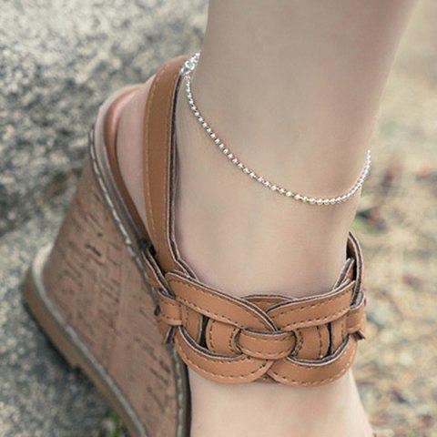 New Beaded Chain Anklet - SILVER  Mobile