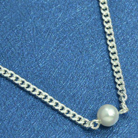 Store Faux Pearl Chain Charm Anklet - SILVER  Mobile