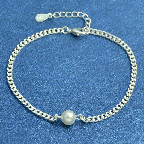 New Faux Pearl Chain Charm Anklet - SILVER  Mobile
