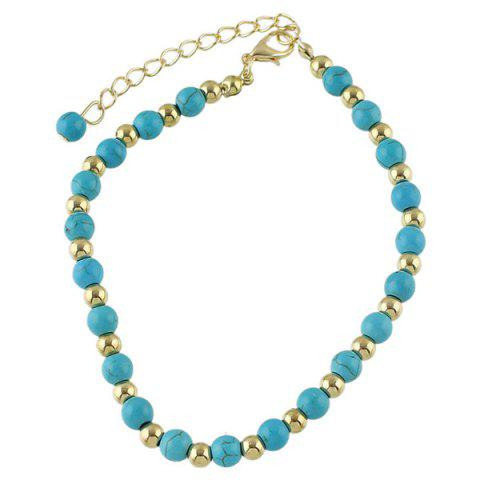 Buy Faux Turquoise Beads Flower Charm Beaded Anklets - GOLDEN  Mobile