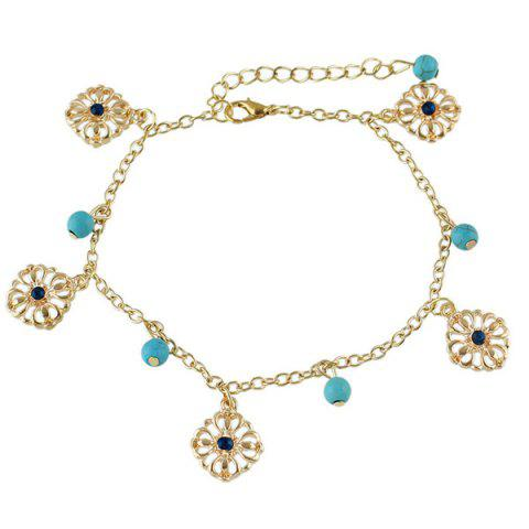 Trendy Faux Turquoise Beads Flower Charm Beaded Anklets - GOLDEN  Mobile