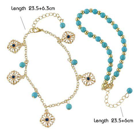 Discount Faux Turquoise Beads Flower Charm Beaded Anklets - GOLDEN  Mobile