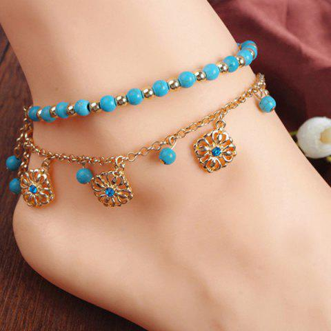 Faux Turquoise Beads Flower Charm Beaded Anklets - GOLDEN