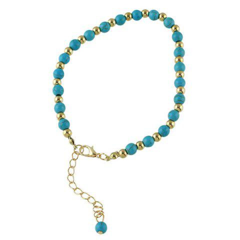 Sale Faux Turquoise Beads Flower Charm Beaded Anklets - GOLDEN  Mobile