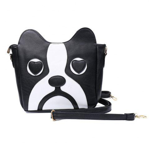 Shop Sweet Kitten Pattern and Color Block Design Women's Crossbody Bag - BLACK  Mobile