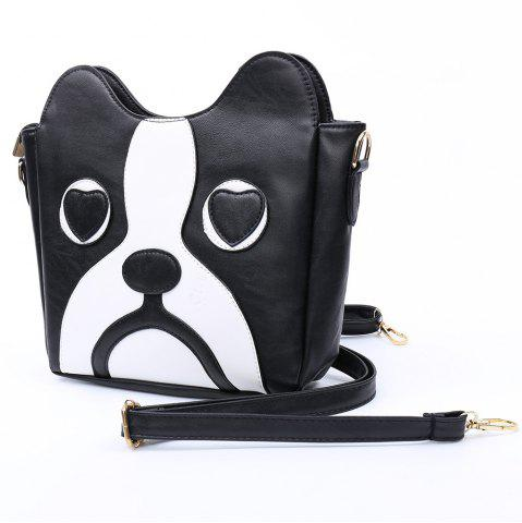 Unique Sweet Kitten Pattern and Color Block Design Women's Crossbody Bag - BLACK  Mobile