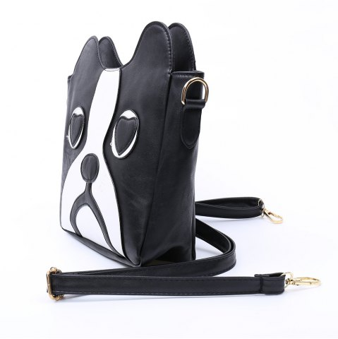 Online Sweet Kitten Pattern and Color Block Design Women's Crossbody Bag - BLACK  Mobile