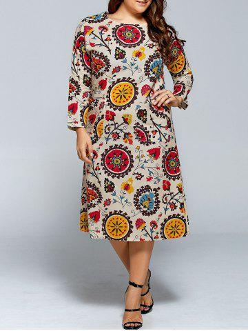 Store Plus Size Long Sleeve Flower Print Dress