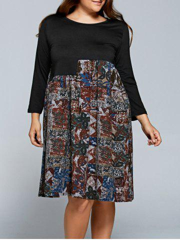 Best Printed Long Sleeve Plus Size Shift Dress